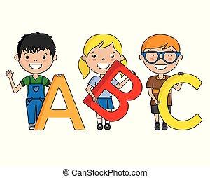 alfabet, kinderen, vrolijke