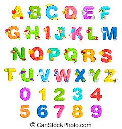 alfabet, set, getal