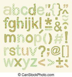 alfabet, set, textured