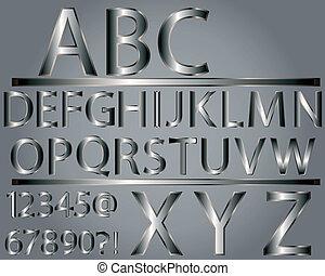 alfabet, stijl, metalen