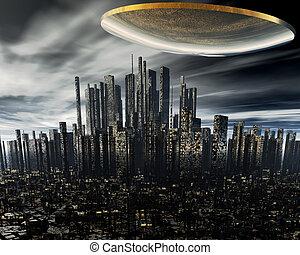 alien, scheeps , ruimte, 3d, ufo