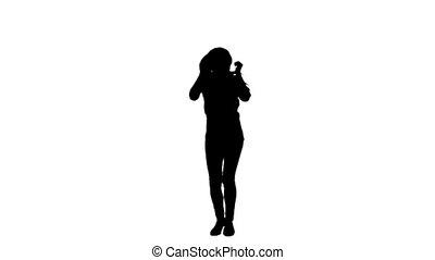 alleen, vrouw dansen, silhouette