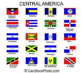 alles, amerika, vlaggen, landen, centraal, lijst