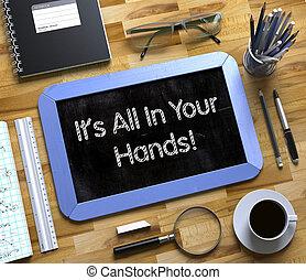 alles, concept., informatietechnologie, chalkboard, handen, kleine, 3d., jouw