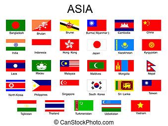 alles, land, lijst, azie, middelbare , zonder, vlaggen, aziaat