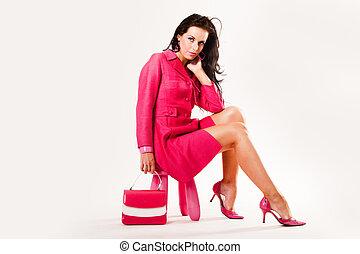 alles, roze, verfijnd, sexy, model, vervelend, jonge