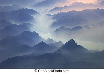 alpen, bovenkanten, bergen