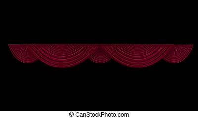 alpha- kanaal, gordijn, theater, rood
