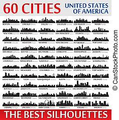 ameri, ongelofelijk, staten, silhouettes, verenigd, set., skyline, stad