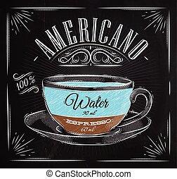 americano, poster, krijt