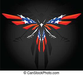 amerikaan, abstract, vliegen, vlag