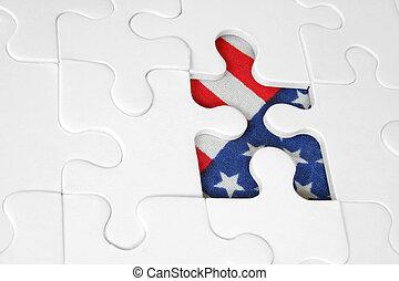 amerikaan, jigsaw, vlag