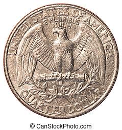 amerikaan, kwartaal geldstuk, een