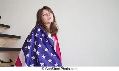 amerikaan, ons, patriot, woman., vrolijke , verticaal, person.