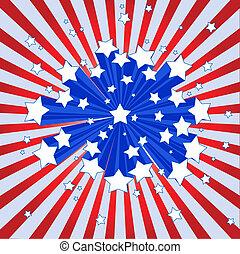 amerikaan, starburst, achtergrond