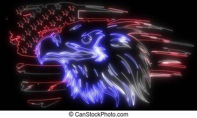 amerikaan, tegen, kaal, vlag, adelaar, video