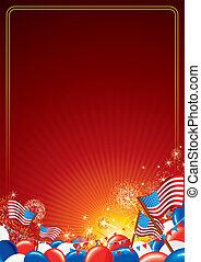 amerikaan, vector, achtergrond, viering