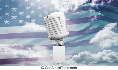 amerikaan, video, vlag