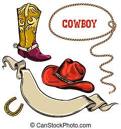 amerikaan, voorwerpen, cowboy