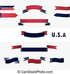 amerikaanse vlag, banieren, colors.
