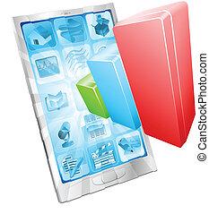 analytics, app, concept, telefoon