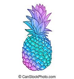 ananas, poster., modieus, kunst, creatief