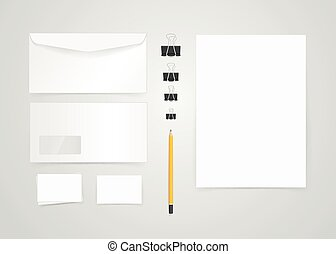anders, branding., voorwerpen, mock-up., papier, vector, mal, identiteit