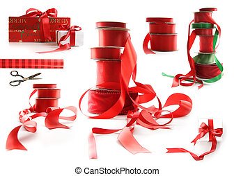 anders, cadeau, groottes, dozen, verpakte, witte , linten, rood