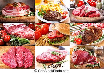 anders, collage, vlees
