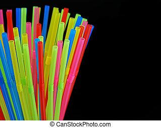 anders, gekleurde, vrijstaand, od, op, plastic, stro, black , afsluiten, drinkt