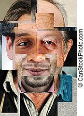 anders, gemaakt, mensen, gezicht, collage, concept, artistiek, menselijk, enigszins