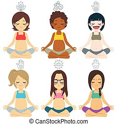 anders, groep, maniertjes, yoga, zwangere