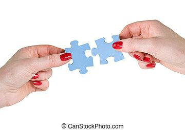 anders, handen, puzzelstukjes