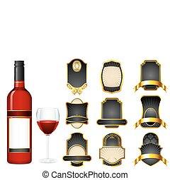 anders, leeg, wijn fles, etiket