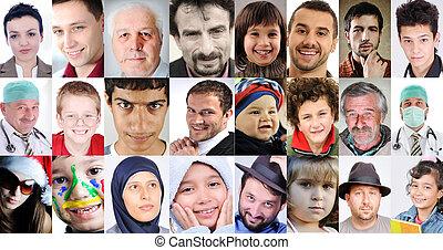 anders, mensen, collage, leeftijden, algemeen, cultures, uitdrukkingen, kavels
