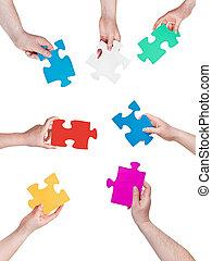 anders, mensen, puzzelstukjes, handen, cirkel