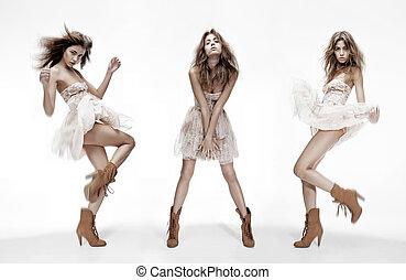 anders, mode, beeld, drievoudig, model, maniertjes