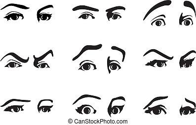 anders, oog, illustratie, vector, emotions., uitdrukken, uitdrukking