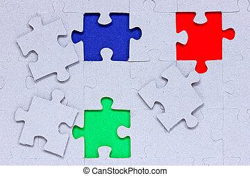 anders, raadsel, gekleurde, stukken