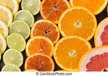 anders, schijfen, citrus, op, fruit, afsluiten