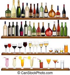 anders, set, dranken flessen