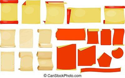 anders, set, ouderwetse , illustratie, papier, achtergrond., vector, bladen, witte