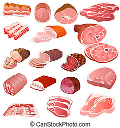 anders, set, soorten, vlees
