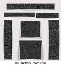 anders, set., textured, sizes., black , textuur, huid, rimpelig, banieren