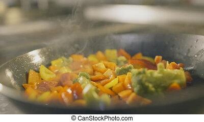 anders, vertragen, velen, het koken, motie, veggies