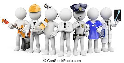anders, werkende mensen , beroepen, witte , mensen., 3d