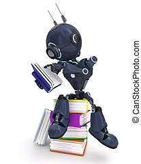 android, boekjes , stapel