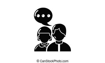 animatie, gesprek, pictogram, mensen