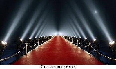 animatie, lus, rood tapijt