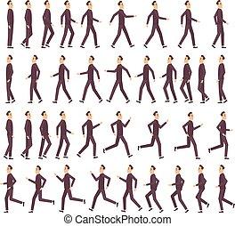 animatie, plat, vasten, rennende , vector, karakter, profiel, spel, 2d, zakenman, spotprent, keyframe, aanzicht, sprite, bovenkant, man.